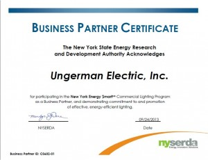 NYSERDA Partner Certificate awarded to Ungerman Electric